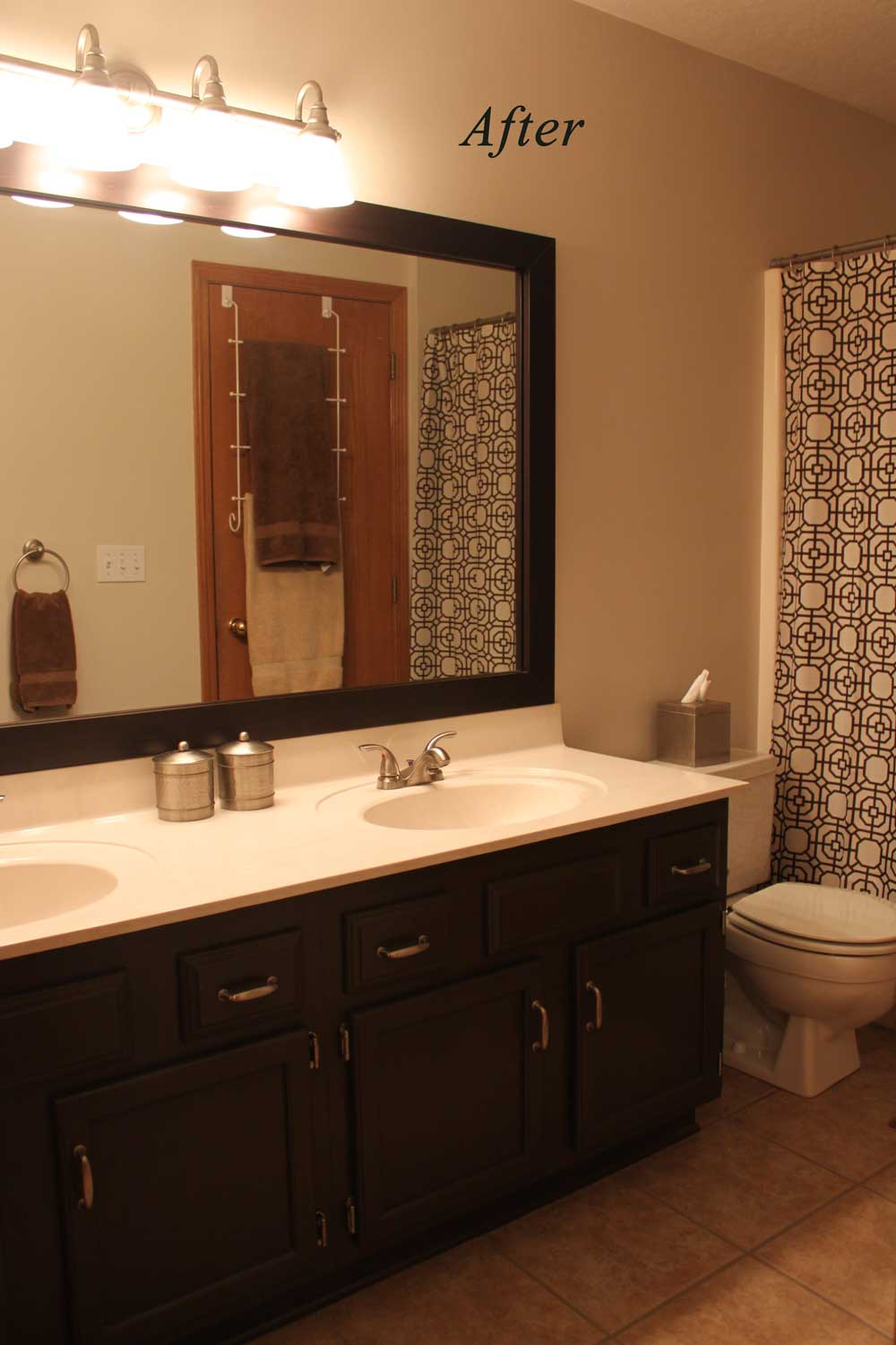 bathroom vanity updated from honey oak