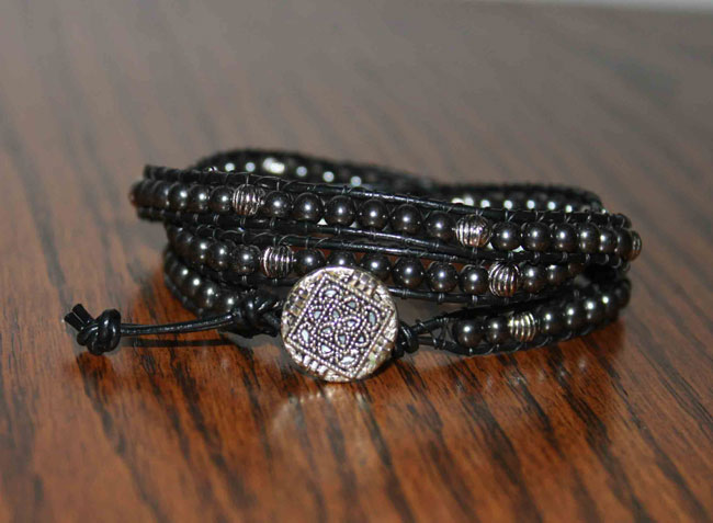 DIY wrap bracelet - black and silver