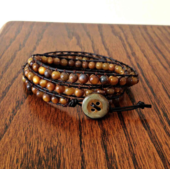 DIY wrap bracelet tiger eye