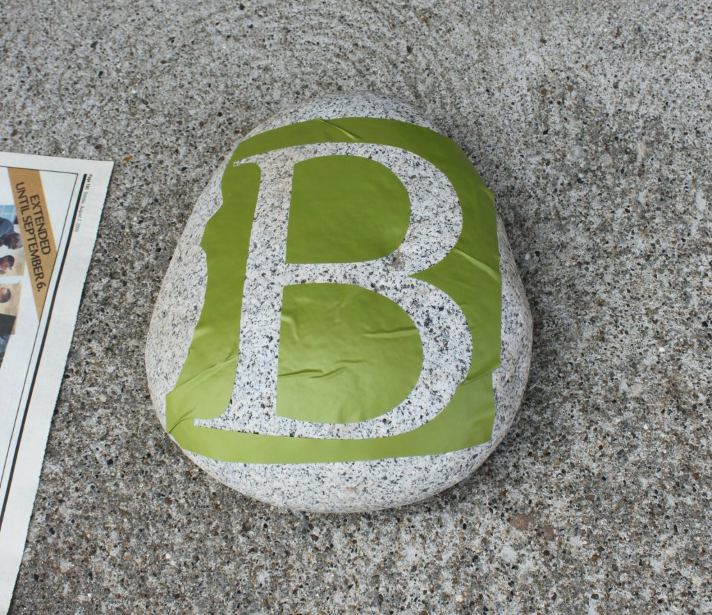 Stenciled Rocks - monogram stencil