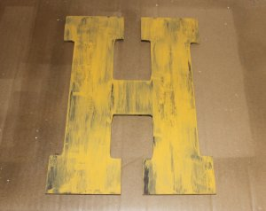 aged paint monogram - yellow second coat