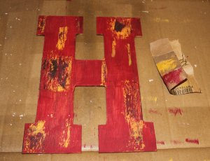 aged paint monogram - final sanding step
