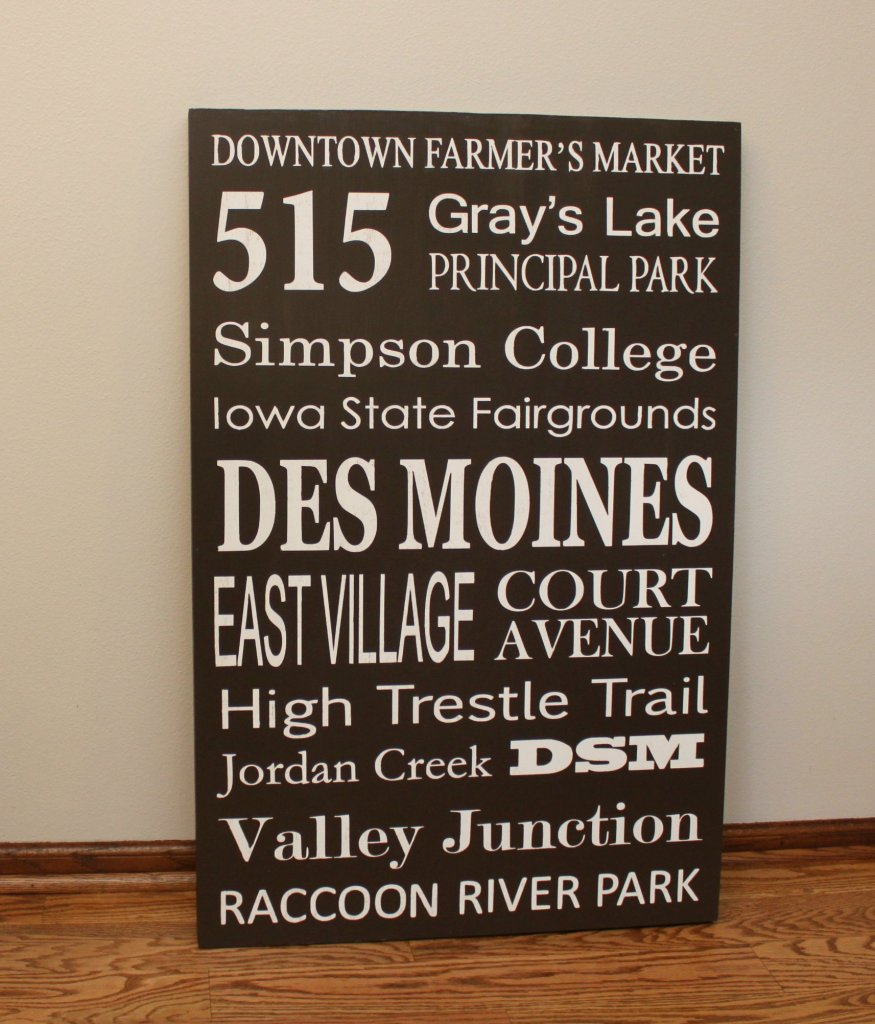 DIY Subway Art Des Moines