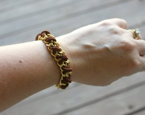Chain and Suede Laced Bracelet