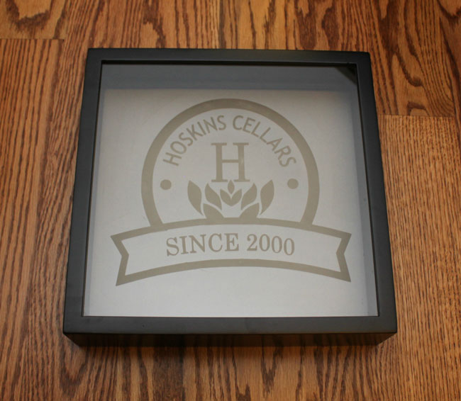 wine cork holder shadow box with personalized etched logo
