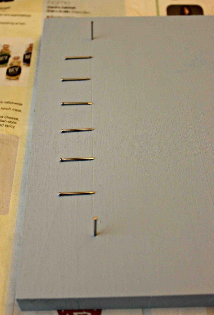 Nail string art, place nails