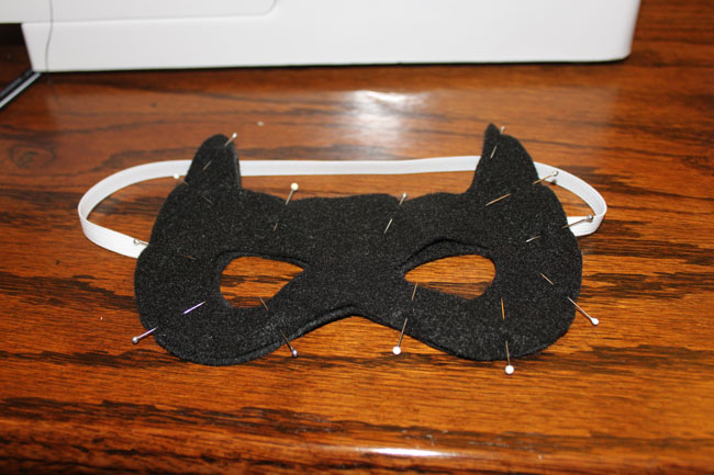 Batman Felt mask - pinned together with elastic