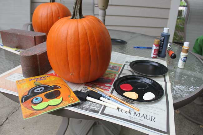 kids painted pumpkin