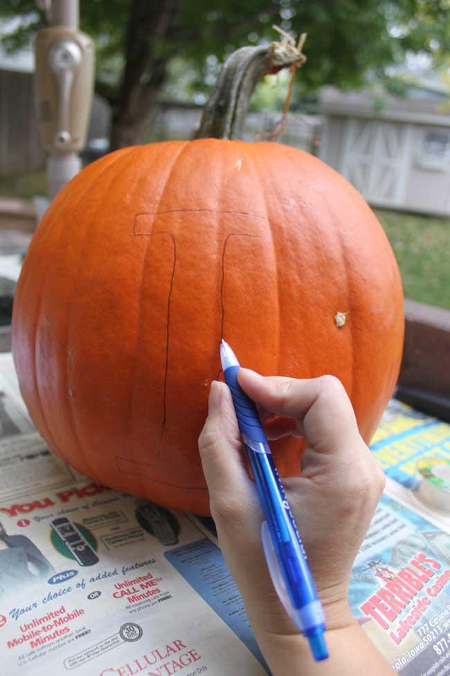 Stencil Monogram Pumpkin