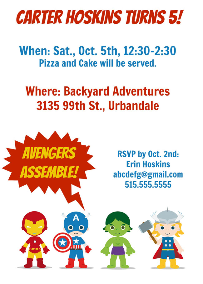 Avengers Party Invitation