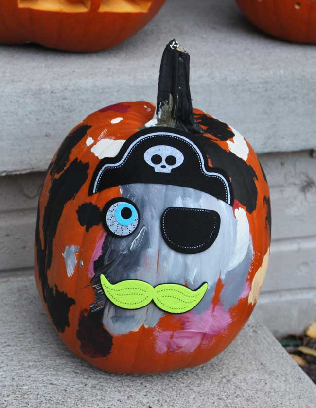 Painted pumpkin with Pirate felt face