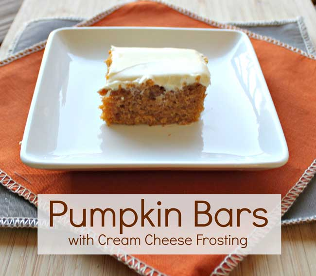The Best Pumpkin Bar Recipe EVER - with homemade cream cheese frosting!