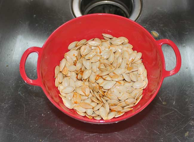 Roasted Pumpkin Seeds - clean and rinse your seeds