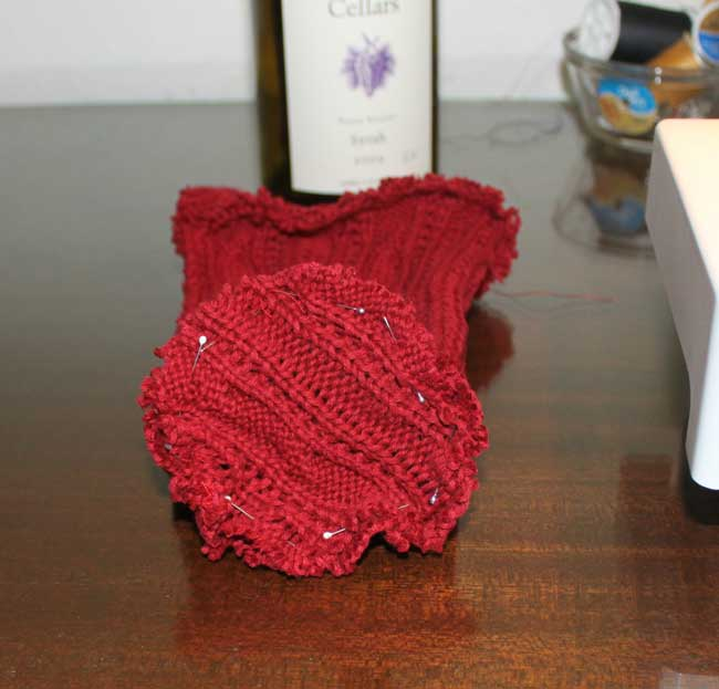 Sweater Wine Bottle Holder - pin to bottle inside out.
