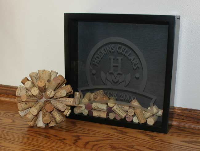 Wine Cork Ball and Wine Cork Shadow Box Holder