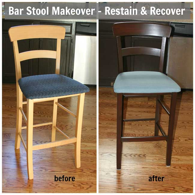 Bar Stool Makeover Restain + Recover - before and after