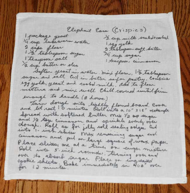 handwritten recipes printed on tea towel