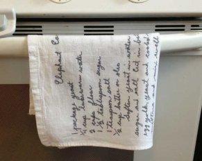 handwritten recipes on tea towels | Sometimes-Homemade.com