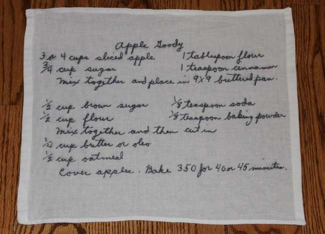 transferring handwritten recipes to a tea towel