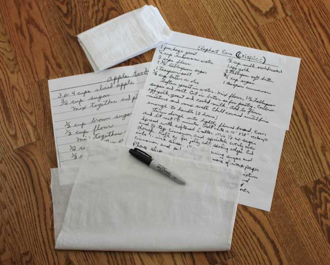 transferring handwritten recipes to tea towels