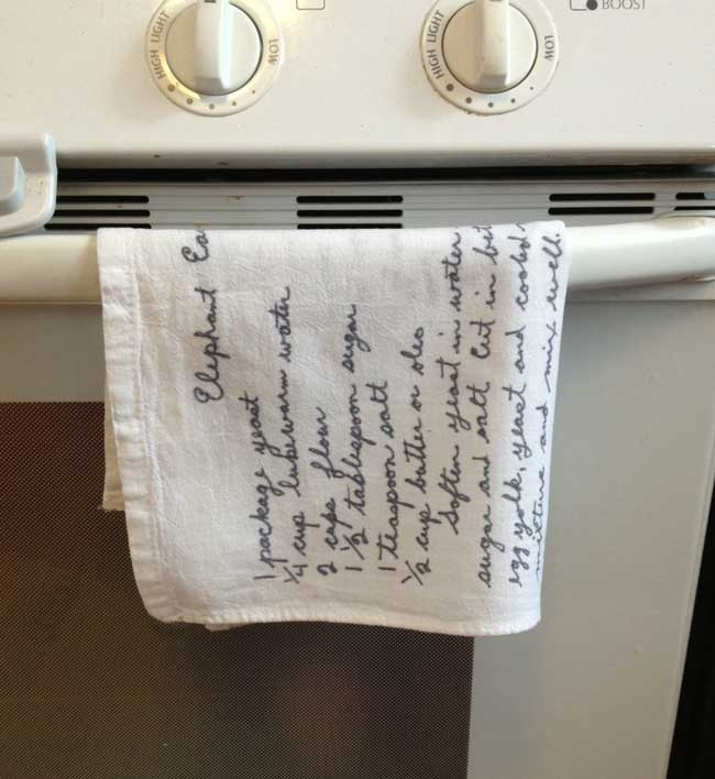 handwritten recipes on tea towels | Sometimes-Homemade.com