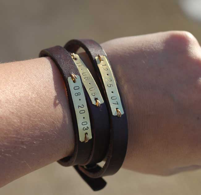 Leather Wrap Bracelet with Metal Stamped Kids Birth Dates