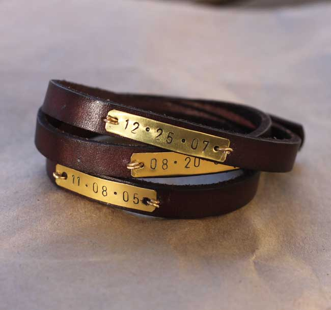 Metal Stamped Leather Wrap Bracelet