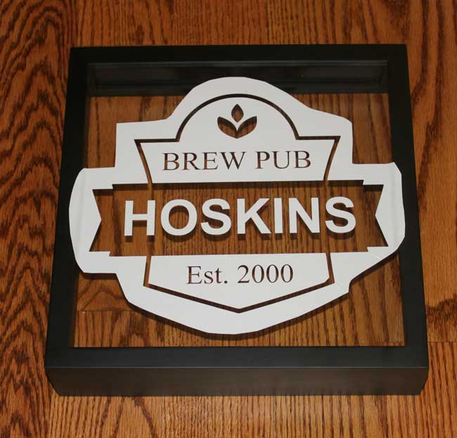 Beer Coaster Shadow Box - apply stencil, made with Silhouette Cameo