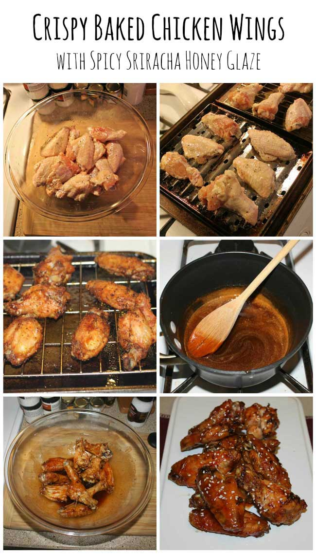 Crispy Baked Chicken Wings with Spicy Honey Glaze | Sometimes-Homemade.com