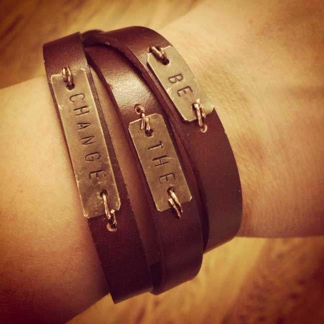 Inspiration Metal Stamped Leather Wrap Bracelet