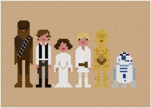 pixel star wars characters - wee little stitches