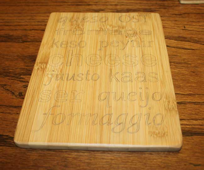 Wood Burning Cheese Tray - Cheese in different languages (traced stencil)