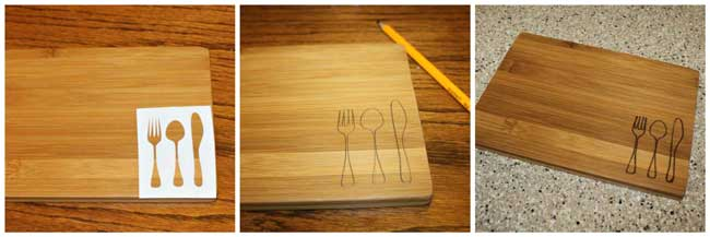 Fork Spoon Knife Wood Burned Cutting Board