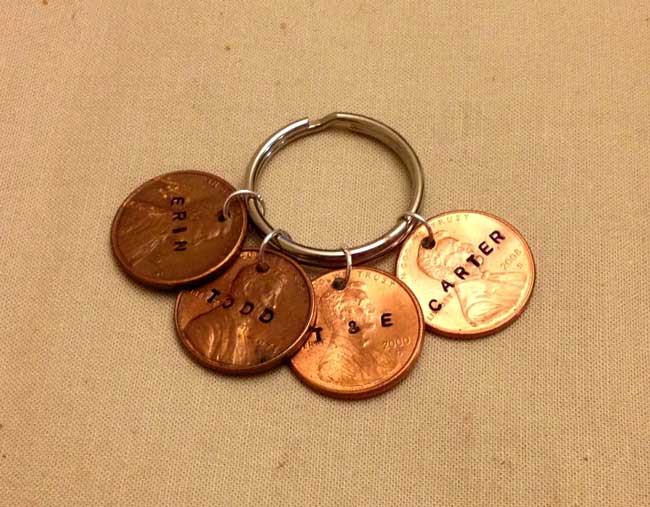 hand stamped penny keychain