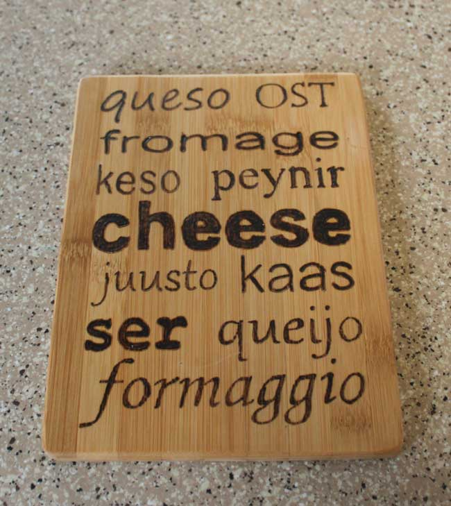 Wood Burned Cutting Board - Cheese
