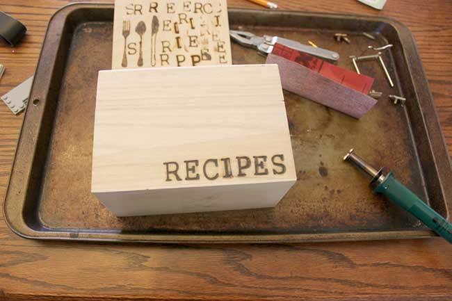 wood stamped recipe box recipes