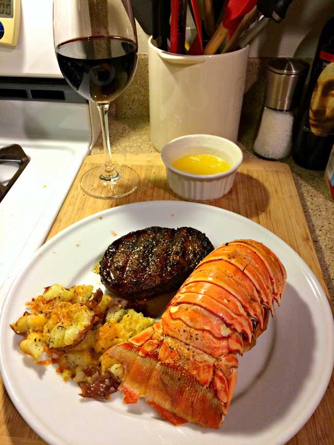 smashed-potatoes-steak-lobster