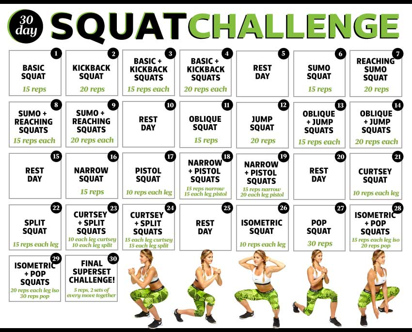 30 Day Squat Challenge Before And After for Pinterest