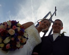 wedding picture cross above