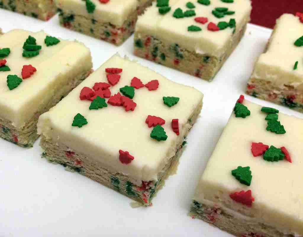 Sugar Cookie Bars - add a festive touch for any holiday with sprinkles in the cookies and on top!