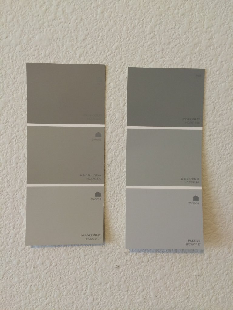 Check paint swatches on walls