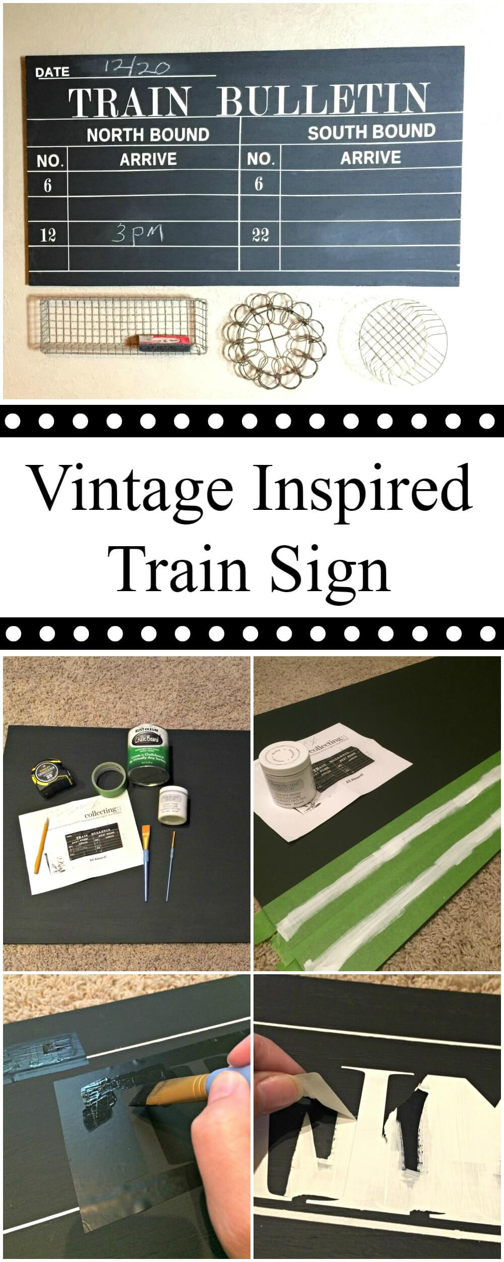 Vintage Inspired Chalkboard Train Depot Sign - step by step instructions on making your own