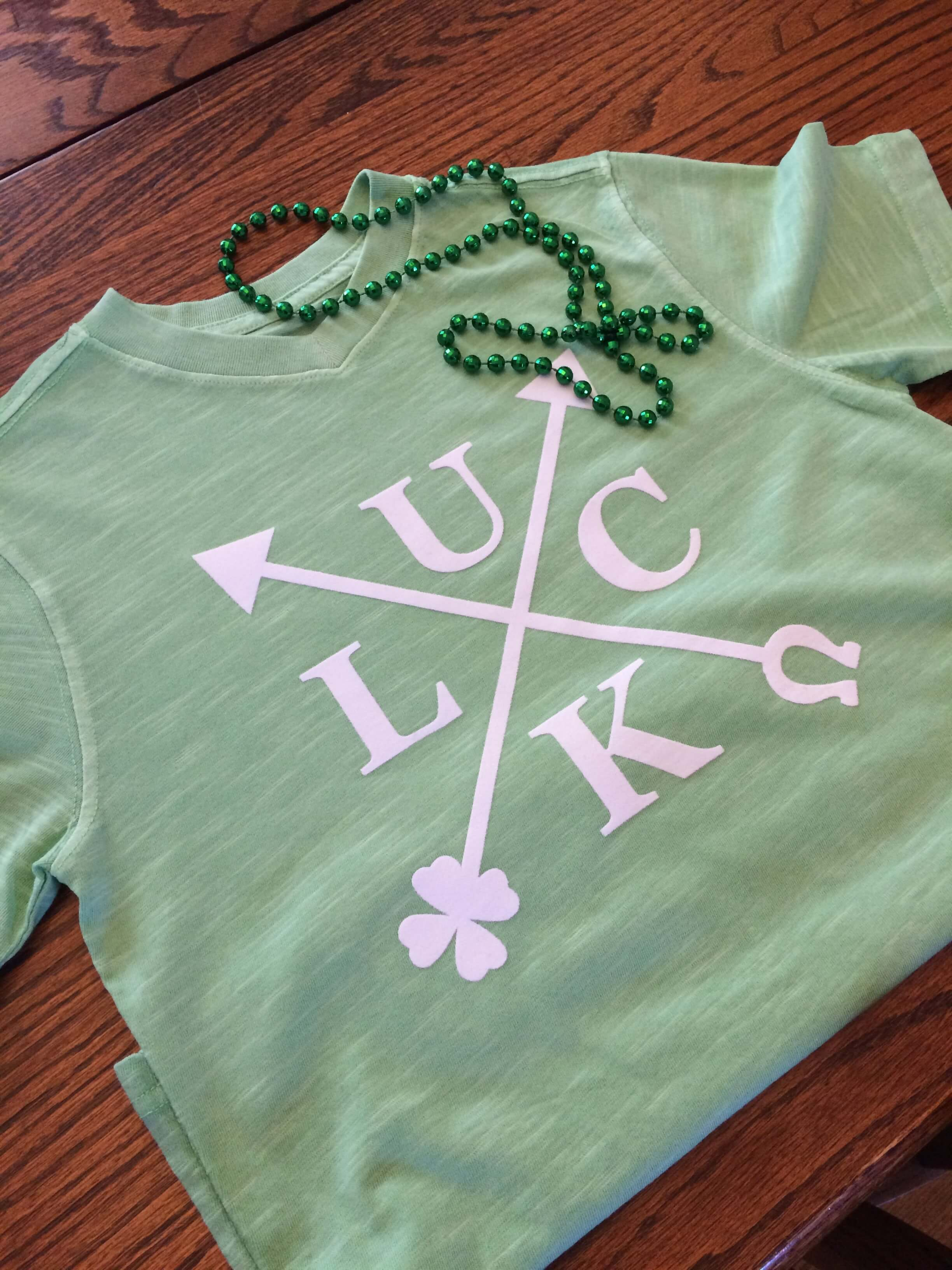 Luck T-Shirt - use criss cross arrow design to make a themed shirt for St. Patrick's Day or showcase your favorite four letter word!
