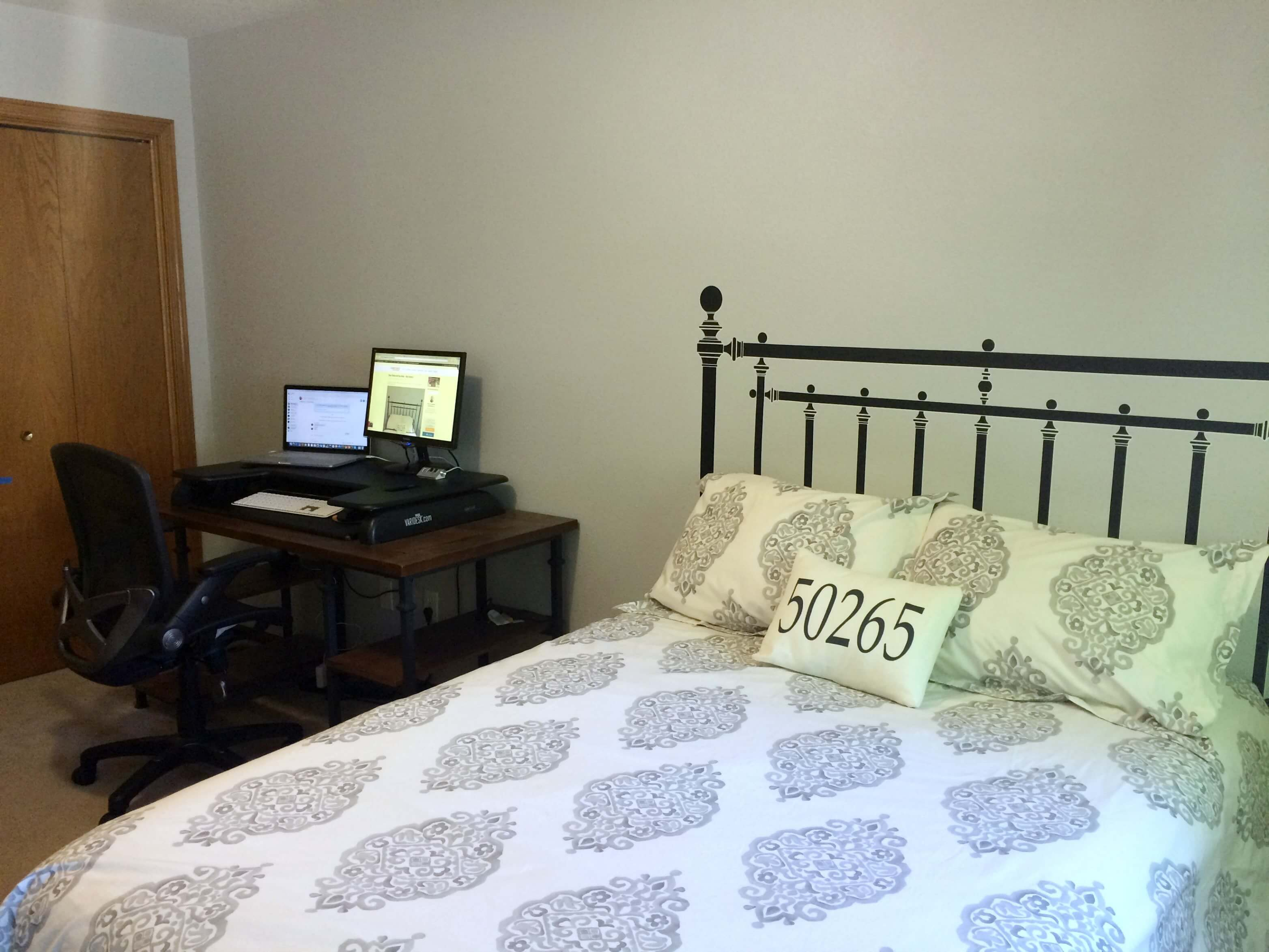 Faux Iron Headboard - Spare bedroom and office makeover