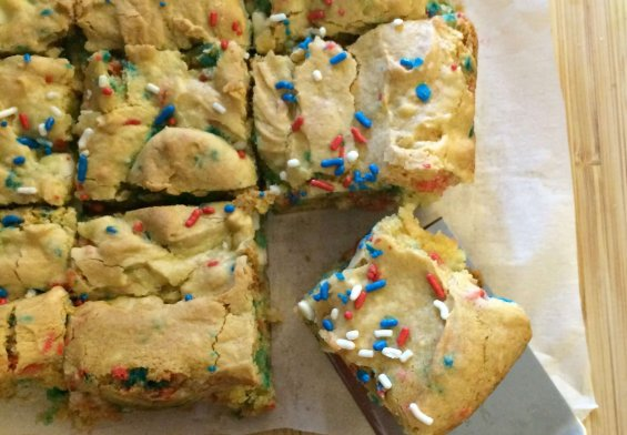 Red, White and Blue Cake Batter Blondies