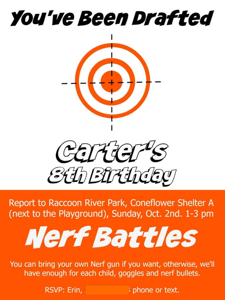 Nerf Birthday Invite