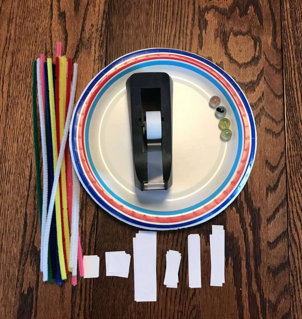 Paper Plate Marble Maze supplies