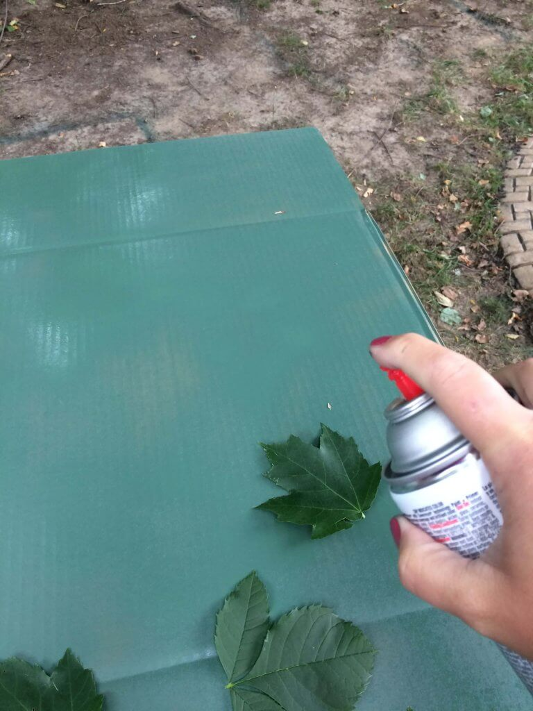 painting camouflage - using leaves for your template