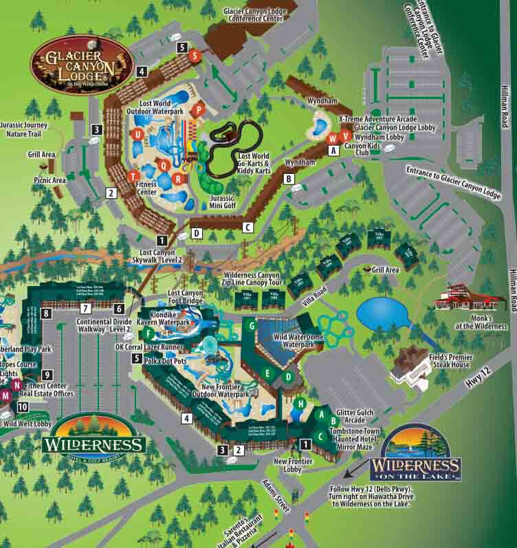 Wilderness Resort Map The Wilderness Wisconsin Dells Map | Travel Guide
